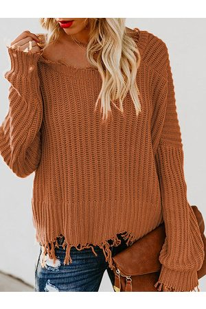 YOINS Deep V Neck Ripped Sweater