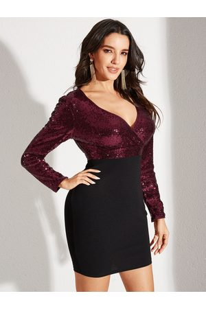 YOINS Burgundy Sequins Patchwork Wrap Deep V Neck Long Sleeves Dress