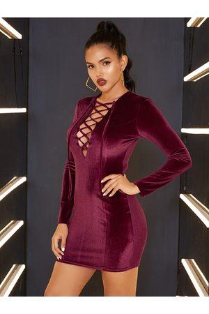 YOINS Lace-up Design Deep V Neck Velvet Dress