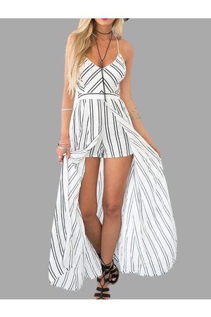 YOINS Stripe V Neck Criss Cross Back Cami Playsuit with Maxi Overlay