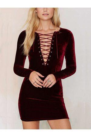 YOINS Lace Up Velvet Mini Dress