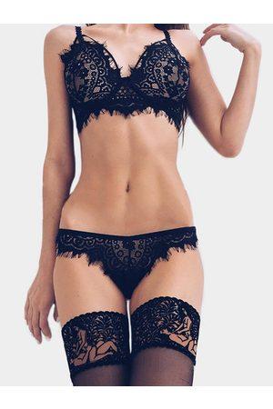 YOINS See-through Eyelash Lace Trim Sexy Lingerie Set