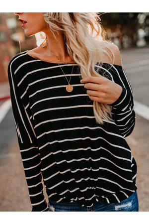 YOINS Stripe Twisted Boatneck Knit Top