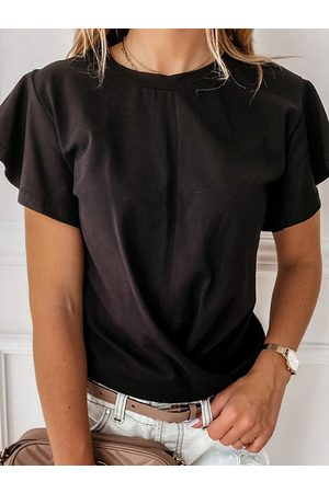 YOINS Crossed Front Design Crew Neck Ruffle Sleeves Tee