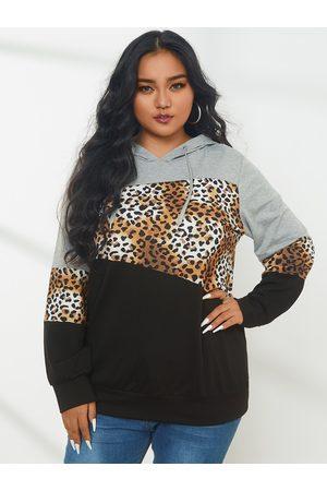 YOINS Plus Size Pullover Patchwork Leopard Hooded Design Long Sleeves Sweatshirt