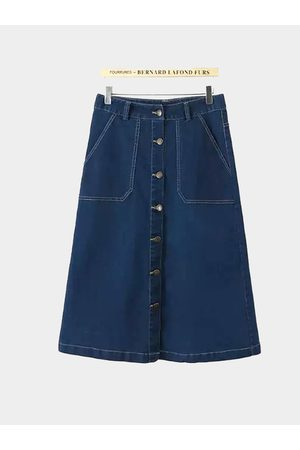 YOINS Button Through Denim Midi A-line Skirt