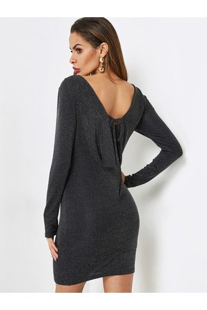 YOINS Backless Design Tie-up Party Dress