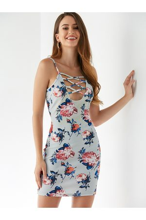 YOINS Random Floral Print Backless Design Sleeveless Dress