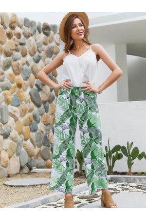 YOINS Leaf Print V-neck Camis & Wide Leg Co-ord