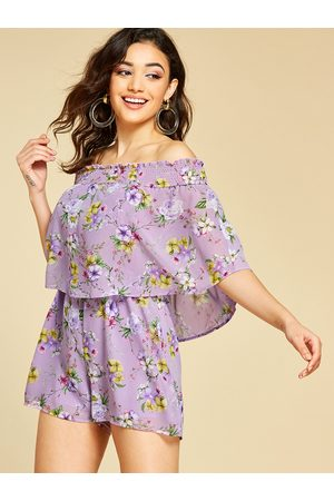 YOINS Double Layer Floral Print Off The Shoulder Playsuit