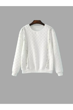 YOINS Quilted Studded Double Strap Argyle Sweatshirt