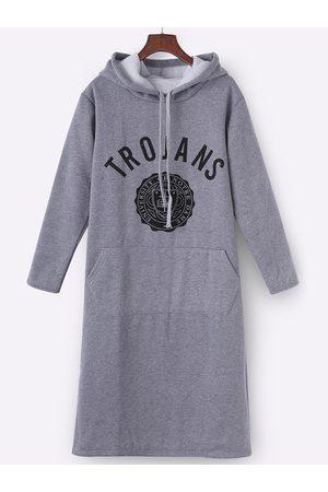 YOINS Hooded Design Printed Front Pocket Sweatshirt Dress
