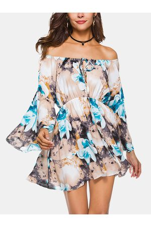 YOINS Blue Random Floral Lace-up Off Shoulder Bell Sleeves Mini Dress