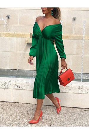 YOINS Pleated Design V Neck Long Sleeves Satin Wrap Dress