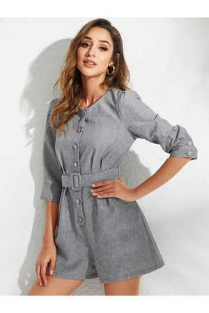 YOINS Grey Belted Front Button Pockets Round Neck Long Sleeves Playsuit