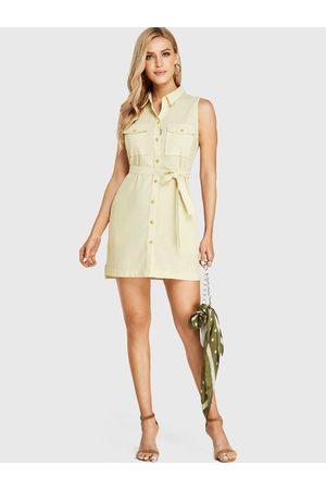 YOINS Belt Design Revere Collar Sleeveless Dress