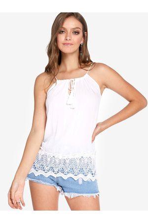 YOINS Adjustable Neckline Round Neck Sleeveless Lace Hem Camis