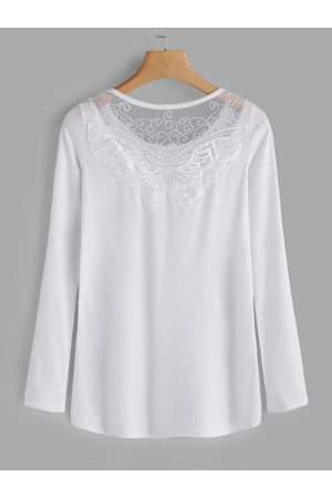 YOINS Lace Details Round Neck Long Sleeves T-shirts