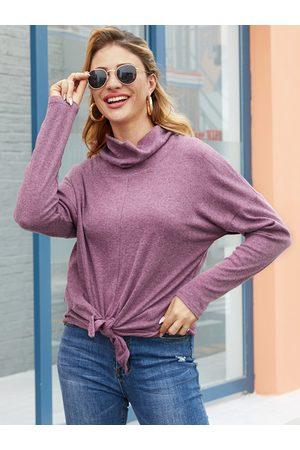 YOINS Purple Design Chimney Collar Long Sleeves Tee