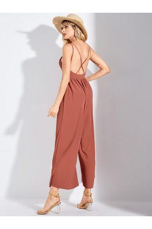 YOINS Orange Criss-cross Backless Design Spaghetti Strap Jumpsuit