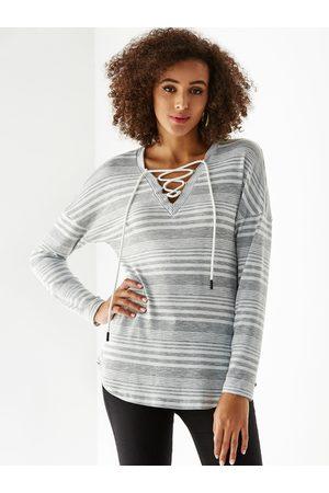 YOINS Lace Up Design Stripe V-neck Long Sleeves Tee