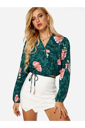 YOINS Crossed Front Design Floral Print V-neck Long Sleeves Crop Top