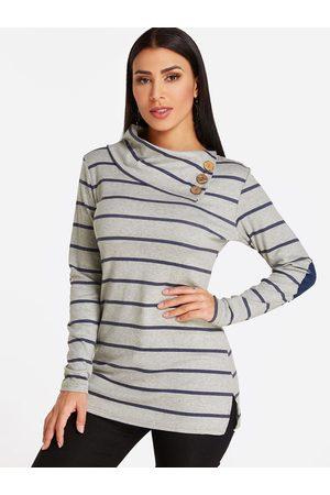 YOINS Button Design Stripe Asymmetrical Long Sleeves Sweatshirts