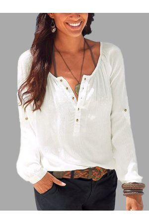 YOINS Button Design Plain Round Neck Long Sleeves Blouse