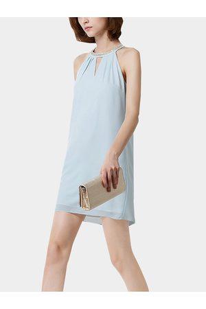 YOINS Halter Neck Pencil Chiffon Dress