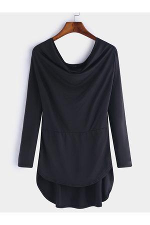 YOINS Plain Irregular Hem Long Sleeves T-shirts