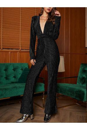 YOINS Black Zip Design Stripe Long Sleeves Deep V-neck Jumpsuit