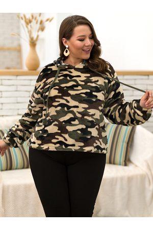 YOINS Plus Size Camouflage Design Hoodie