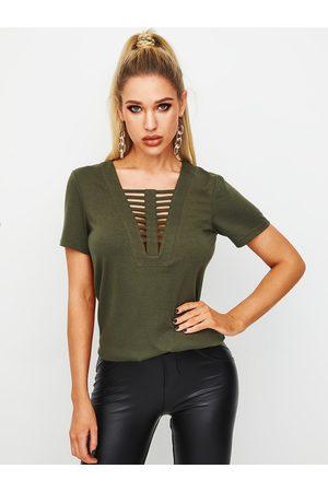 YOINS Green Hollow Design V-neck Short Sleeves Tee