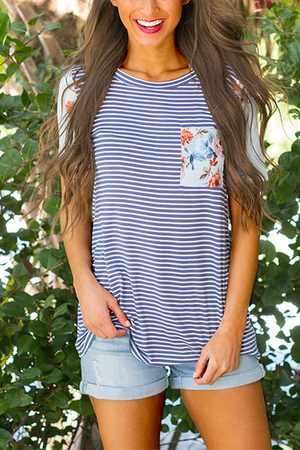 YOINS Blue Stripe Pattern Stitching Short Sleeves T-shirts