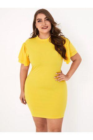 YOINS Plus Size Ruffle Sleeves Crew Neck Short Sleeves Dress
