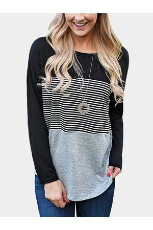 YOINS Stripe Stitching Round Neck Long Sleeves T-shirt