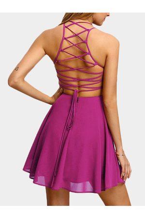 YOINS Rose Lace-up Design Plain Off The Shoulder Sleeveless Mini Dress