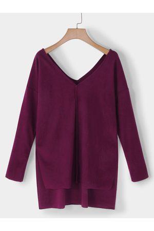 YOINS V-neck Long Sleeves Side Slit T-shirt