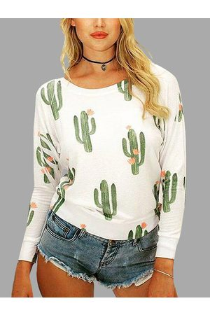 YOINS Cactus Pattern Round Neck Top