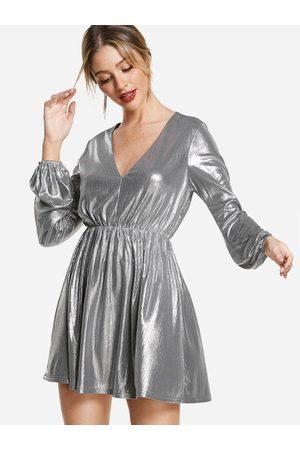 YOINS Puff Sleeves V Neck Shiny Party Dresses