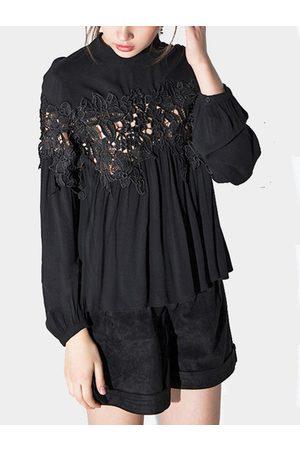 YOINS Lace Insert Keyhole Back Long Sleeves Shirt