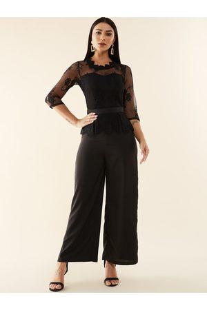 YOINS Lace Insert Design 3/4 Length Sleeves Jumpsuit