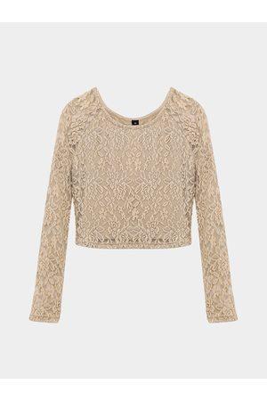 YOINS Crochet Floral Lace Crop Top in Apricot