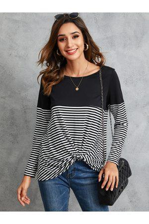 YOINS Black Twist Stripe Patchwork Round Neck Long Sleeves Tee