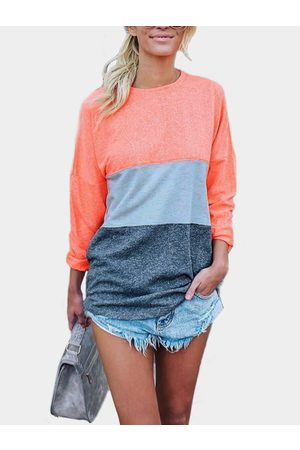 YOINS Pink Patchwork Round Neck Long Sleeves T-shirt