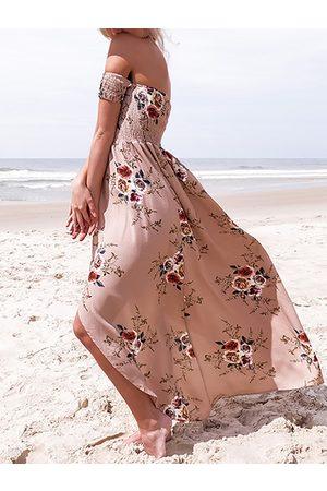 YOINS Apricot Floral Print OFF The Shoulder Dress