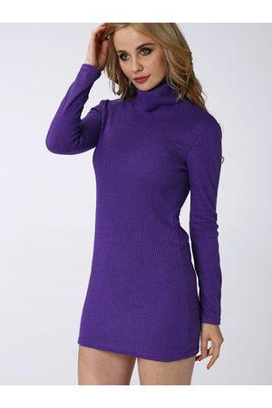 YOINS Sexy Bodycon Rollneck Long Sleeves Mini Dress