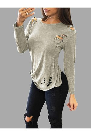 YOINS Sexy Round Neck Ripped T-shirt With Long Sleeves