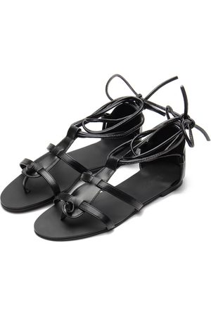 YOINS Leather Look Lace-up Gladiator Flat Sandals