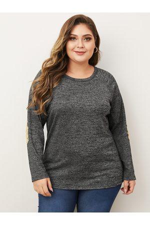 YOINS Plus Size Grey Sequins Embellished Long Sleeves Tee